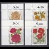 1150-1153 Wofa Gartenrosen 1982, Ecken oben links, Satz **