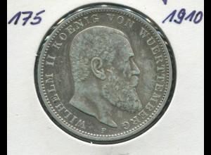 Württemberg König Wilhelm II., 3 Mark von 1910, Silber 900, ss - sehr schön