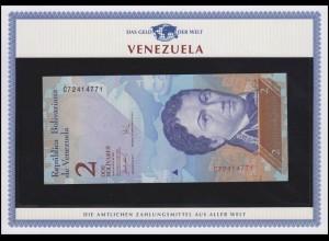 Venezuela: 2 Bolivares Banknote von 2007, bankfrisch