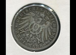 Bayern Otto - großer Reichsadler, 2 Mark 1901, Silber 900, ss