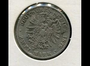 Bayern Ludwig II. - kleiner Reichsadler, 2 Mark 1876, Silber 900, ss