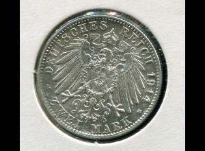 Bayern Ludwig III. - großer Reichsadler, 2 Mark 1914, Silber 900, vorzüglich vz
