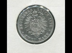 Hamburg - kleiner Reichsadler, 2 Mark 1876, Silber 900 vorzügliche Erhaltung vz