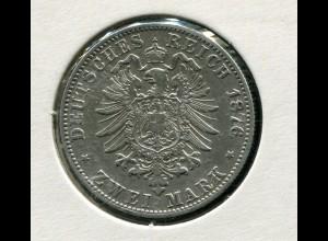 Hamburg - kleiner Reichsadler, 2 Mark 1876, Silber 900 sehr schön bis vz