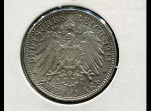 Bayern Prinzregent Luitpold - großer Reichsadler, 2 Mark 1911, Silber 900, ss-vz