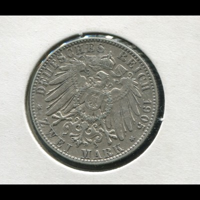 Sachsen König Friedrich - Reichsadler groß, 2 Mark von 1905, Silber 900, ss-vz