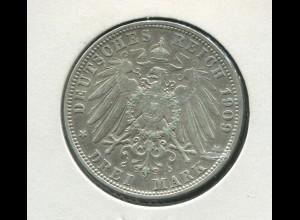 Bayern König Otto - großer Reichsadler, 3 Mark 1909, Silber 900, ss