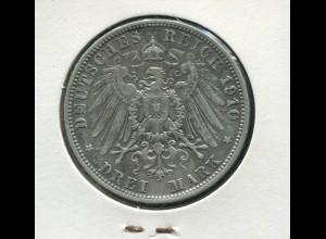 Bayern König Otto - großer Reichsadler, 3 Mark 1910, Silber 900, ss