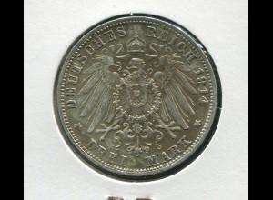 Bayern Ludwig III. - großer Reichsadler, 3 Mark 1914, Silber 900, vorzüglich ss