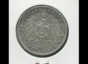 Preußen Wilhelm II. - Reichsadler groß, 3 Mark von 1908, Silber 900, ss - vz