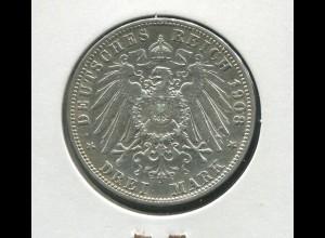 Preußen Wilhelm II. - Reichsadler groß, 3 Mark von 1908, Silber 900, vz