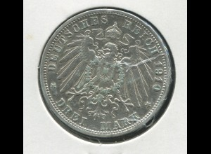 Preußen Wilhelm II. - Reichsadler groß, 3 Mark von 1910, Silber 900, ss - vz