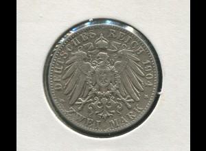 Sachsen König Georg - Reichsadler groß, 2 Mark von 1904, Silber 900, ss