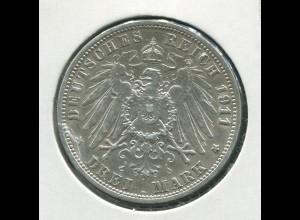 Preußen Wilhelm II. - Reichsadler groß, 3 Mark von 1911, Silber 900, vz