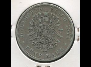 Hamburg - kleiner Reichsadler, 5 Mark 1875, Silber 900, ss - sehr schön