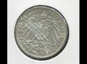 Preußen Wilhelm II. - Reichsadler groß, 3 Mark von 1912, Silber 900, vz - stg