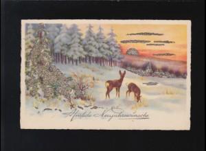 Herzliche Neujahrswünsche Rehe Waldrand Schnee Winter Abendrot Witten 30.12.1933