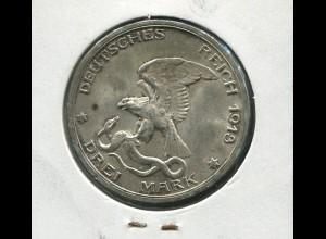Preußen Jahrhundertfeier der Befreiungskriege, 3 Mark von 1913, Silber 900, ss