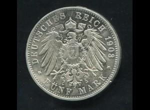 Hamburg - großer Reichsadler, 5 Mark 1903, Silber 900, ss - vz