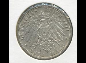 Hamburg - großer Reichsadler, 3 Mark 1911, Silber 900, ss - vz