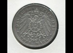 Sachsen König Friedrich - Reichsadler groß, 3 Mark von 1913, Silber 900, ss-vz
