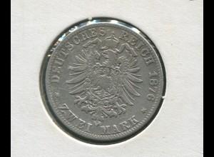 Preußen Wilhelm, kleiner Reichsadler, 2 Mark von 1876 C, Silber 900, ss