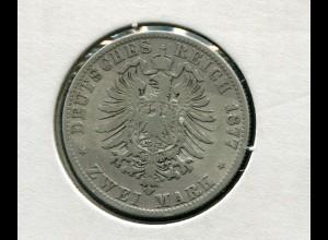 Sachsen König Albert - Reichsadler klein, 2 Mark von 1877, Silber 900, s
