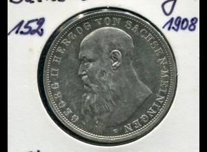 Sachsen-Meiningen Herzog Georg, 3 Mark von 1908, Silber 900, vz-stg