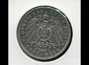 Sachsen König Friedrich - Reichsadler groß, 3 Mark von 1908, Silber 900, ss