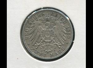 Sachsen König Albert - Reichsadler groß, 2 Mark von 1899, Silber 900, ss