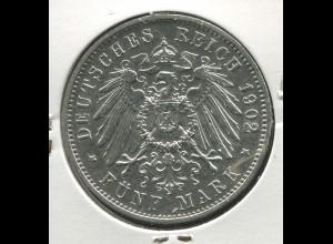 Sachsen König Albert - Reichsadler groß, 5 Mark von 1902, Silber 900, vz-ss