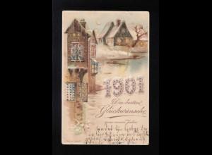 Die besten Glückwünsche 1901 Stadt Fenster leuchten, Weimar/Napoli 29.12.1900