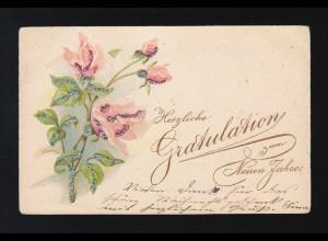 Herzliche Gratulation zum Neuen Jahre Rosen, Frankfurt/Lausanne 30.12.1900