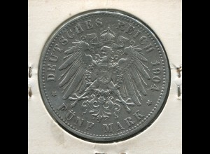 Preußen Wilhelm II., großer Reichsadler, 5 Mark von 1904, Silber 900, ss