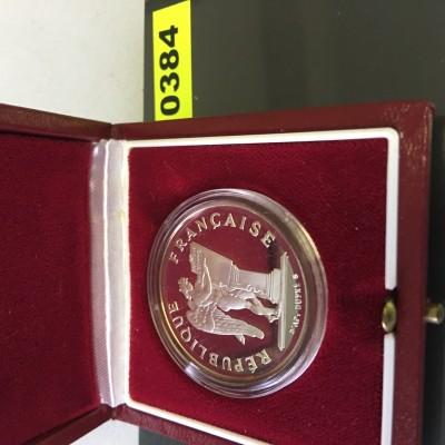 Frankreich Silbermünze (950) zu 100 Francs Menschenrechte, 1989, 15 g PP