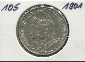 200 Jahre Preußen Friedrich/Wilhelm, 2 Mark von 1901, Silber 900, vz