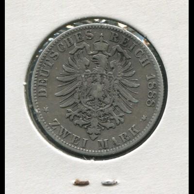 Sachsen König Albert - Reichsadler klein, 2 Mark von 1888, Silber 900, s