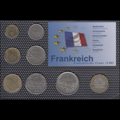 Frankreich: Kürsmünzensatz mit 8 Münzen, geprägt 1971/1998