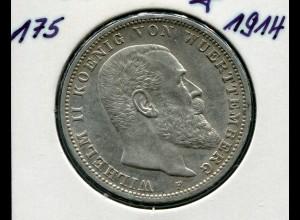Württemberg König Wilhelm II., 3 Mark von 1914, Silber 900, ss - sehr schön