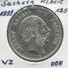 Sachsen König Albert - Reichsadler groß, 5 Mark von 1899, Silber 900, ss