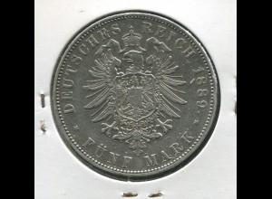 Sachsen König Albert - Reichsadler klein, 5 Mark von 1889, Silber 900, ss