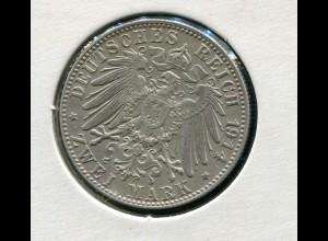 Bayern Ludwig III. - Reichsadler groß, 2 Mark von 1914, Silber 900 vorzüglich vz