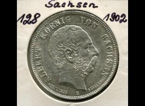 Sachsen König Albert - zum Tode des Königs, 5 Mark von 1898, Silber 900, ss-vz
