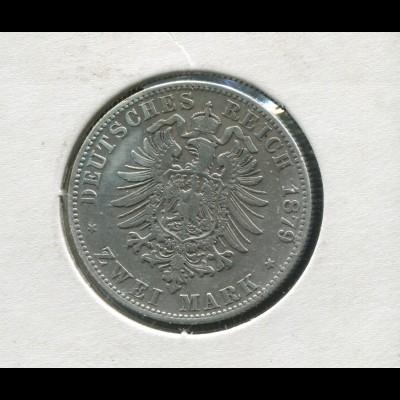 Sachsen König Albert - Reichsadler klein, 2 Mark von 1879, Silber 900, ss