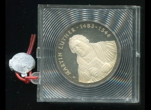 DDR Gedenkmünze 20 Mark Luther, 1983, Spiegelglanz PP in verplombter Kapsel