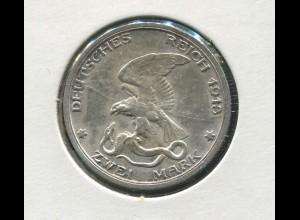 Preußen Befreiungskriege, 2 Mark von 1913, Silber 900, vz