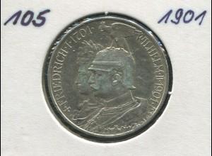 200 J. Preußen Friedrich/Wilhelm, 2 Mark von 1901, Silber 900, vz