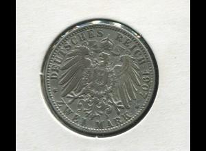 Hamburg - großer Reichsadler, 2 Mark 1907, Silber 900, sehr schön ss