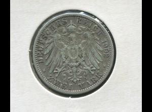 Preußen Wilhelm II., großer Reichsadler, 2 Mark von 1902, Silber 900, ss