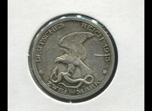 Preußen Befreiungskriege, 2 Mark von 1913, Silber 900, ss